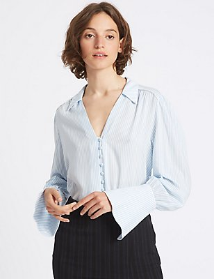 Camisa de rayas de manga larga, MEZCLA DE TONOS AZULES, catlanding