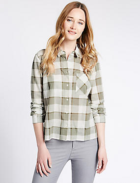 Loose Fit Pure Cotton Boxy Checked Shirt, KHAKI MIX, catlanding
