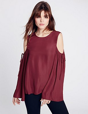 Cold Shoulder Blouse, WINE, catlanding