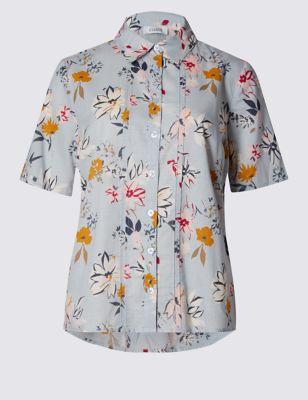 Приталенная рубашка из чистого хлопка добби с цветочным рисунком