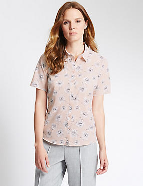 Tailored Fit Floral Print Japanese Shirt, PINK MIX, catlanding