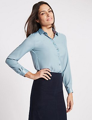 Collared Neck Long Sleeve Blouse, LIGHT STEEL BLUE, catlanding