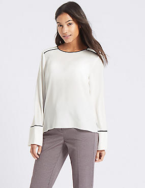 Flute Cuff Round Neck Long Sleeve Blouse, WINTER WHITE, catlanding