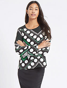 Spotted Flute Cuff Long Sleeve Blouse, GREEN MIX, catlanding