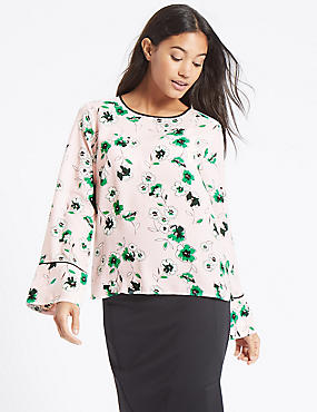 Floral Print Flute Sleeve Round Neck Blouse , PINK MIX, catlanding