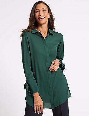 Longline Tie Sleeve Shirt  , BOTTLE GREEN, catlanding