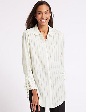 Striped Longline Long Sleeve Shirt, IVORY MIX, catlanding