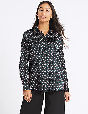 Geometric Print Long Sleeve Blouse , BLACK MIX, catlanding