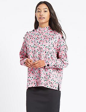 Floral Print Button Detail Blouse, PINK MIX, catlanding