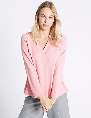 V-Neck Long Sleeve Blouse, PINK, catlanding
