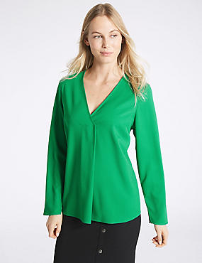 V-Neck Long Sleeve Blouse, BRIGHT GREEN, catlanding