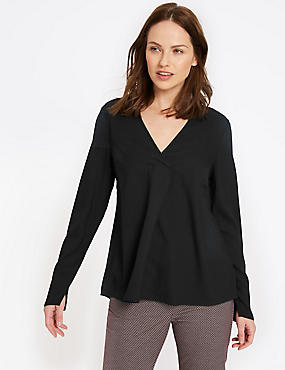 V-Neck Long Sleeve Blouse, BLACK, catlanding