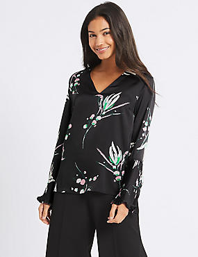 Printed Pleated Sleeve V-Neck Blouse, BLACK MIX, catlanding