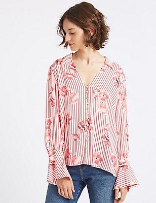 Oversized Floral Stripe Long Sleeve Shirt, PINK MIX, catlanding