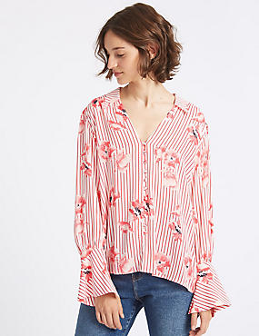 Oversized Floral Stripe Long Sleeve Shirt, PINK MIX, catlanding