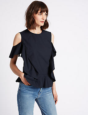 Pure Cotton Ruffle Cold Shoulder Shell Top, NAVY, catlanding