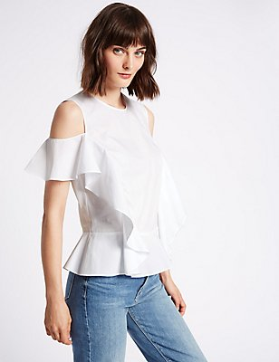 Pure Cotton Ruffle Cold Shoulder Shell Top, SOFT WHITE, catlanding