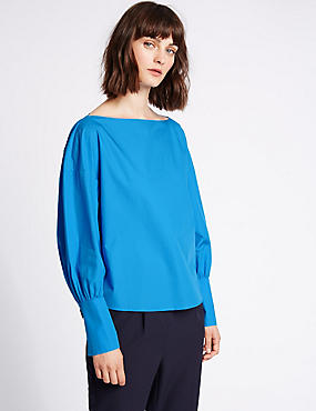 Pure Cotton Slinky Cuff Shell Top, BRIGHT BLUE, catlanding