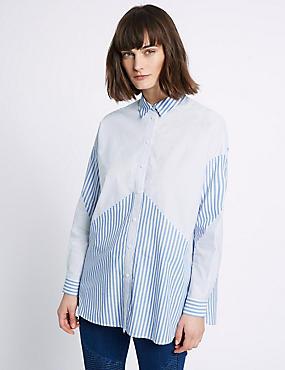 Pure Cotton Mix Stripe Long Sleeve Shirt, BLUE MIX, catlanding