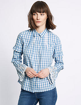 Pure Cotton Gingham Ruffle Sleeve Shirt, BLUE MIX, catlanding