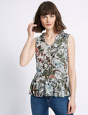 Floral Print Peplum Sleeveless Vest Top, IVORY MIX, catlanding