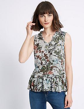 Ärmelloses Hemdchen mit Blumendruck und Schößchen, ELFENBEIN MELANGE, catlanding