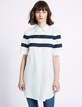 Pure Cotton Longline Striped Shirt, WHITE MIX, catlanding