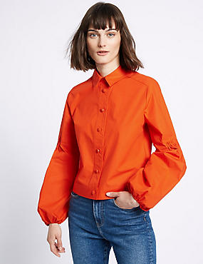 Pure Cotton Poplin Shacket Shirt, ORANGE, catlanding