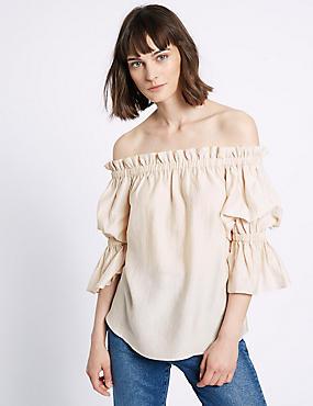 Bardot-blouse met 3/4-mouwen en ruches, ROZE, catlanding