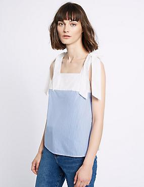 Pure Cotton Striped Poplin Tie Vest Top, BLUE MIX, catlanding