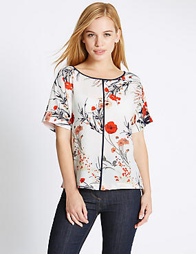 PETITE Floral Shell Top, IVORY MIX, catlanding