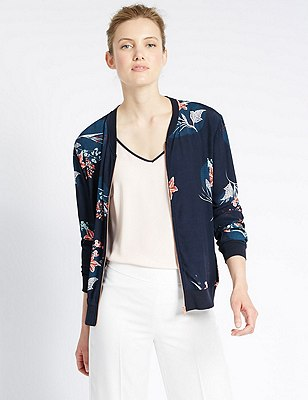 Loose Fit Floral Bomber Jacket, NAVY MIX, catlanding