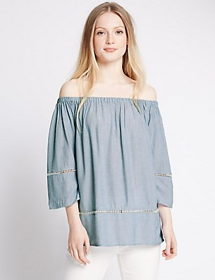 PETITE Embroidered Bardot Shell Top, CHAMBRAY, catlanding