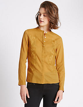 Loose Fit Long Sleeve Plain Blouse, OCHRE, catlanding