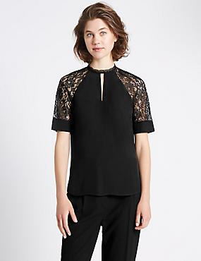 Loose Fit Lace Insert Short Sleeve Blouse, BLACK, catlanding