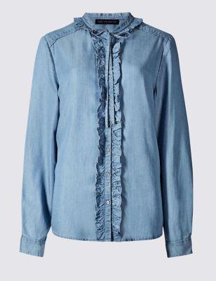 Рубашка Tencel® из чистого хлопка с оборками