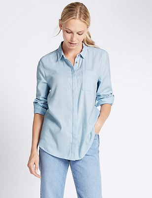 Oversized Long Sleeve Boyfriend Shirt, CHAMBRAY, catlanding