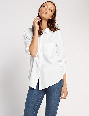 Oversized Long Sleeve Boyfriend Shirt, WHITE, catlanding