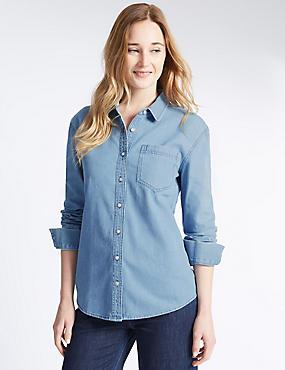 Denim overhemd van puur katoen, INDIGO, catlanding
