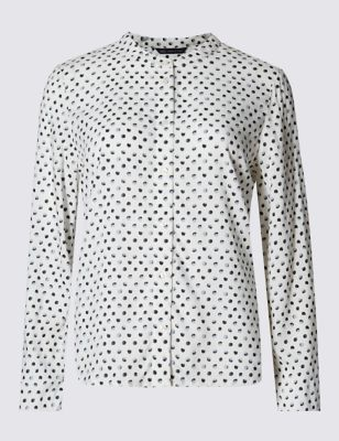 Укороченная рубашка Boxy свободного кроя в горошек
