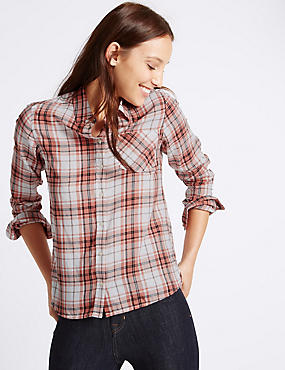Pure Cotton Checked Shirt, PINK MIX, catlanding