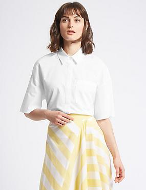Pure Cotton 3/4 Sleeve Shirt , WHITE, catlanding