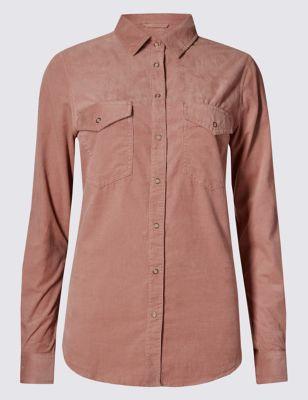 Свободная рубашка Cord из чистого хлопка от Marks & Spencer