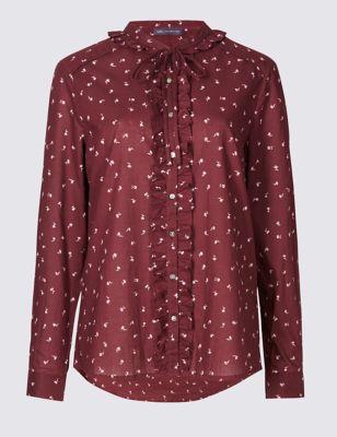 Свободная блузка с рюшем-фуляром