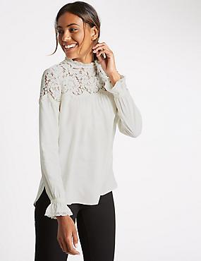 Long Sleeve Romantic Lace Blouse, IVORY, catlanding