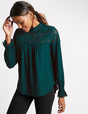 Long Sleeve Romantic Lace Blouse, DARK PETROL, catlanding