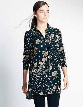 Overhemd met lange mouwen en print, MARINE MIX, catlanding