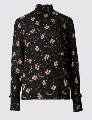 Закрытая блузка с цветочным принтом и манжетами