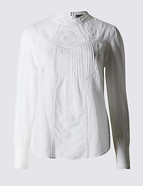 Pure Cotton Embroidered Blouse, WINTER WHITE, catlanding