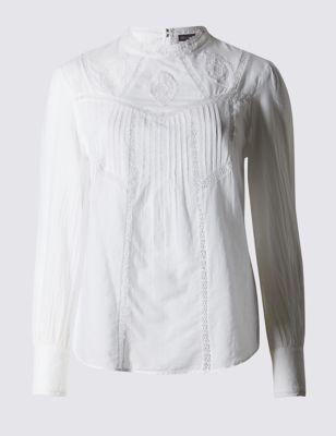 Свободная блузка из чистого хлопка с линейной вышивкой